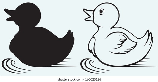 Silhouette duckling isolated on blue background