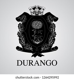 Silhouette of of Durango Coat of Arms. Mexican State. Vector illustration