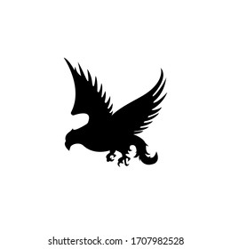 Silhouette Eagle. Bird symbol logo designs of freedom and independence. Retro color logo of falcon.