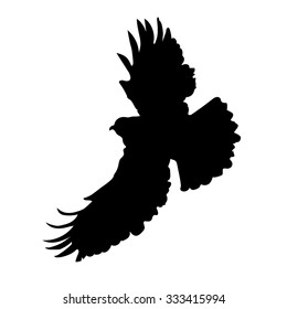 A silhouette of an eagle or hawk in mid flight