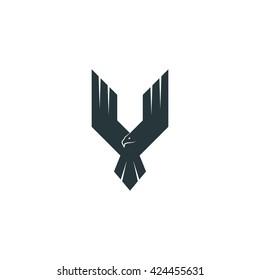 Silhouette eagle logo predator, wings up flying hawk, abstract shape phoenix emblem