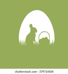 Silhouette of easter rabbit with a basket