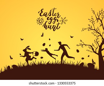 Silhouette of Easter rabbit with eggs runaway from people. Lettering Easter Egg Hunt on orange background, illustration.