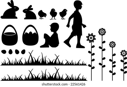 silhouette of easter scene with elements like a boy up and seat, eggs, spring flowers, rabbits, chicken and a basket with easter eggs