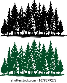 silhouette of eco plants, Christmas tree forest