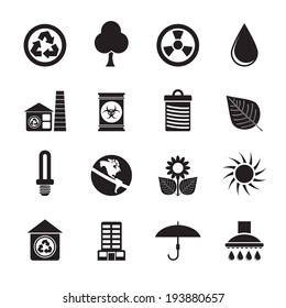 Silhouette Ecology and nature icons -vector icon set