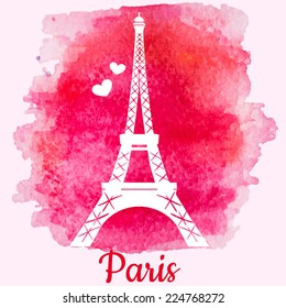 Silhouette of Eiffel tower on the pink watercolor background