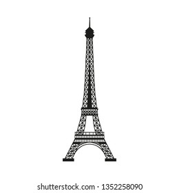 Silhouette Eiffel tower, Paris, France, on a white background.