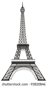 silhouette of Eiffel tower in Paris, isolated o white