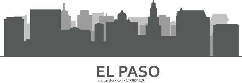 Silhouette of El paso skyline  - El paso panorama, city downtown outline