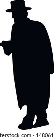 Silhouette of an elderly Jewish man in a hat. Religious Jews in a traditional costume. Hasid with sidelocks and a beard in a long frock coat. Isolated vector illustration. Black on white.