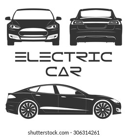 Silhouette of electric car. Front view. Back view. Side view.