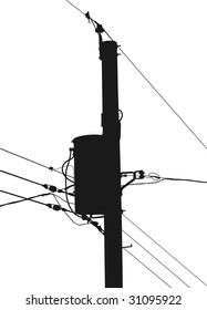Silhouette of am electrical or utility pole with transformer, wires and insulators.