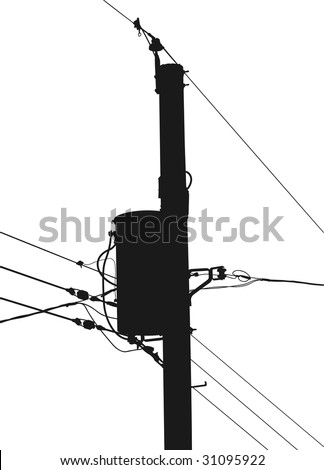 silhouette electrical utility pole transformer 450w 31095922 silhouette electrical utility pole transformer wires stock vector