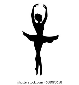 Silhouette of elegant ballerina vector. Dancer icon. sign. symbol. logo