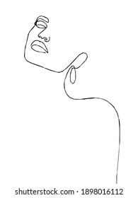 Silhouette of elegant lady . Female figure. Outline of young girl. Linear Art. Black and white vector illustration.