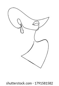 Silhouette of elegant lady in a hat. Female figure. Outline of young girl. Linear Art. Black and white vector illustration.