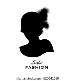 Silhouette of an elegant lady's head with feather headdress, 20s style. Good for logo.