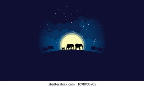 Silhouette elephant family walking at night with stars, clouds, and moon on background