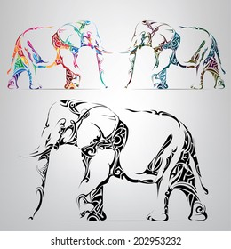 Silhouette of an elephant in an ornament. Vector illustration