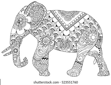 silhouette of an elephant painted ornaments in the style of mihendi