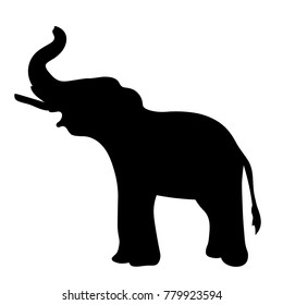 silhouette  the elephant sideways up the trunk.  vector illustration