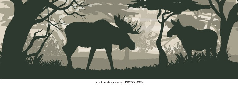 Silhouette. Elk and moose cow in the forest. Wild animals of Eurasia, Scandinavia, Canada and America. Realistic Vector Landscape