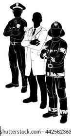 Silhouette emergency rescue services worker team with policeman, fireman and doctor