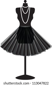 silhouette empty black mannequin with skirt and necklace isolated on white background