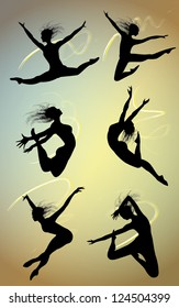 silhouette energy jumping dancers, vector