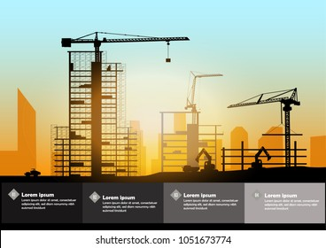 Silhouette of engineer and construction team working at site over blurred background sunset pastel for industry background with Light fair.Vector illustration template design