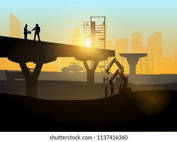 Silhouette of engineer and construction team working at site over blurred background for industry background with Light fair.Vector illustration template