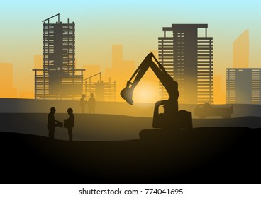 Silhouette of engineer and construction team working safely work load concrete on scaffolding on high rise building. over blurred background sunset pastel for industry background with Light fair