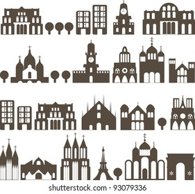 silhouette of european traditional houses - seamless street