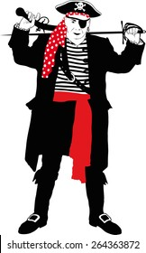 silhouette of an evil pirate captain with arms in black dress with red sash and bandannas