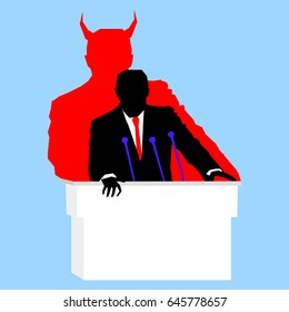 Silhouette of evil politician with devil shadow speaking from tribune