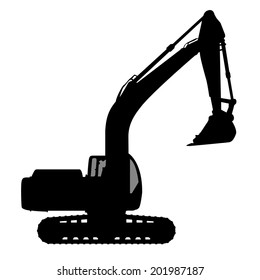 Silhouette of the excavate on a white background.