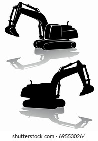 silhouette of a excavator. black and white drawing, white background