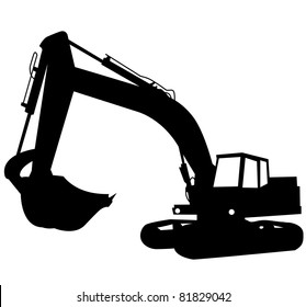 Silhouette of the excavator. Construction of a building