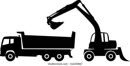 Silhouette excavator and dump truck, vector illustration.