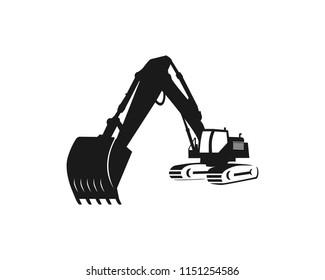Silhouette excavator logo template