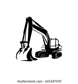 a silhouette excavator logo vector