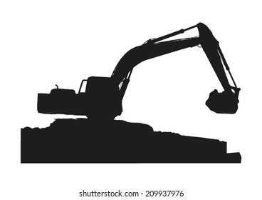 Silhouette of excavator machine working on white background.