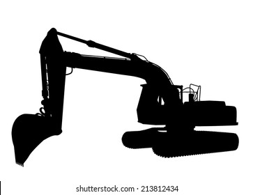 Silhouette of the excavator on white background, vector illustration