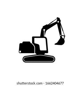 silhouette of excavator vector design. excavator icon sign symbol