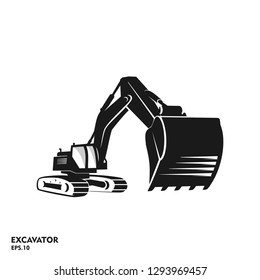 The silhouette excavator vector illustration