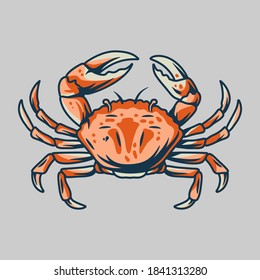 Silhouette of exotic marine underwater crab with claws for design