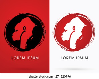 Silhouette Face Gorilla,on grunge cycle background, sign ,logo, symbol, icon, graphic, vector.