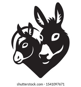 The silhouette of the face of two Donkeys painted in black, painted in different lines. Logo of the animal face of two Donkeys. Vector illustration