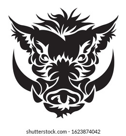 The silhouette of the face of a wild boar, wild pig is painted in black in Celtic style. The emblem of the hunting club. Boar animal logo. Tattoos. Vector isolated illustration